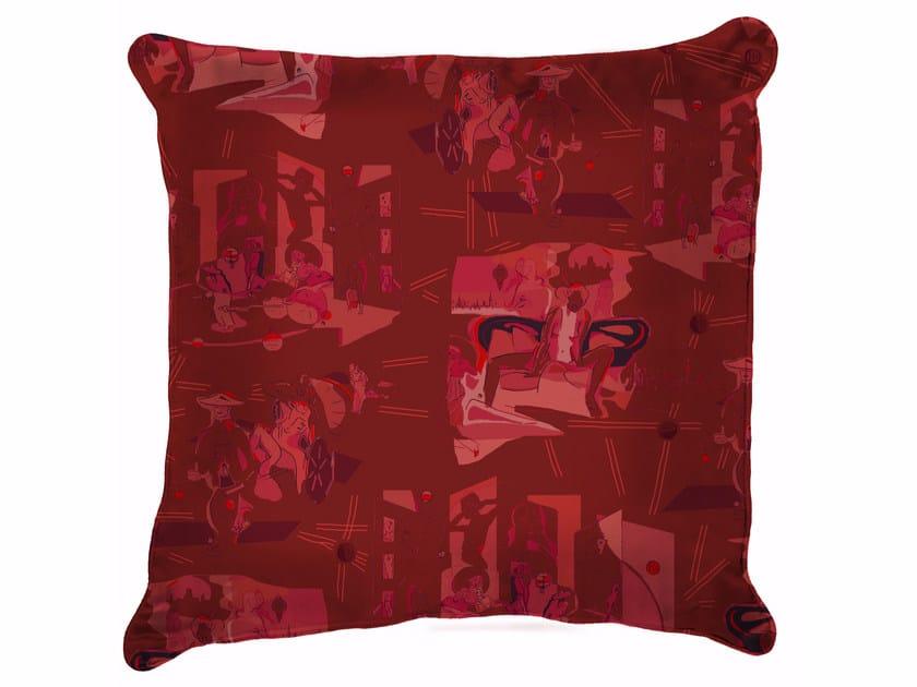 Square silk cushion VILLE D'AMOUR | Silk cushion by Sans Tabù