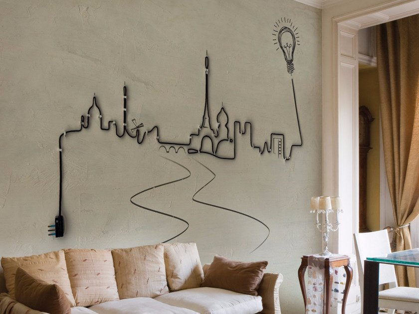 Wall effect panoramic wallpaper VILLE LUMIERE by Inkiostro Bianco