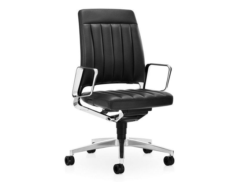 Leather task chair with 5-Spoke base VINTAGE IS5 27V4 by Interstuhl