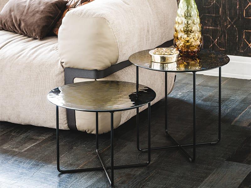 Tavolino basso rotondo in vetro di Murano VINYL by Cattelan Italia