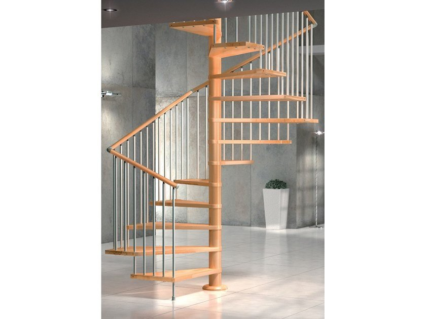 Square beech Spiral staircase VIP Q by MOBIROLO