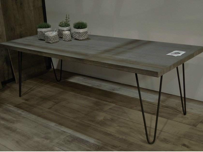 Rectangular oak table VIRGULE by CABUY D.