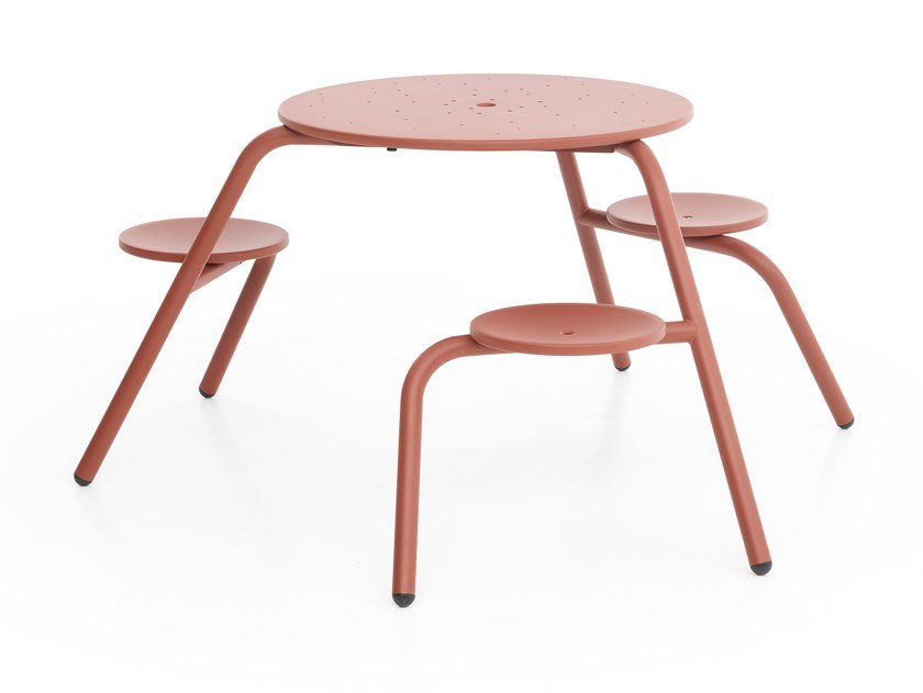 Round metal picnic table with integrated seats VIRUS 3-SEATER by Extremis