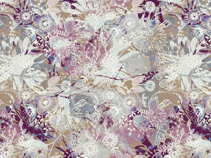 Contemporary style fire retardant wallpaper with floral pattern VISHNU by Tecnografica Italian Wallcoverings