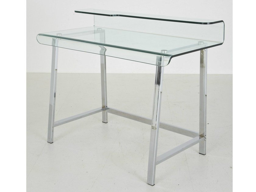Glass and Stainless Steel writing desk VISIBLE CLEAR by KARE-DESIGN