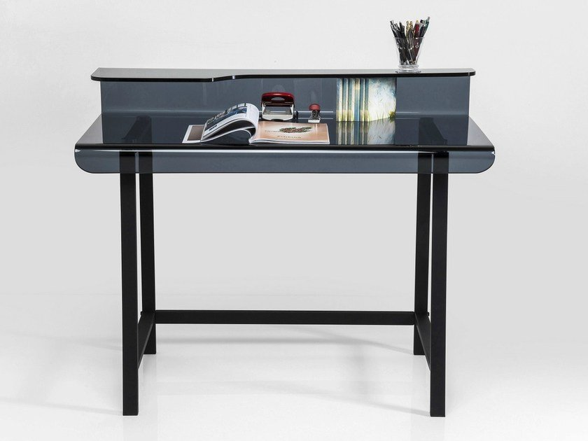 Rectangular glass writing desk VISIBLE GREY by KARE-DESIGN