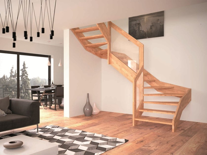 Wooden Open staircase VISIO by RINTAL