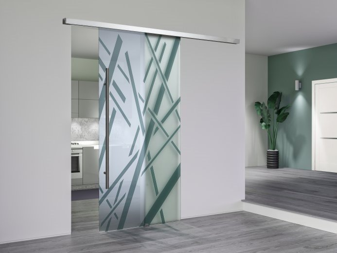 Tempered glass sliding door VITREA | Sliding door by DIERRE