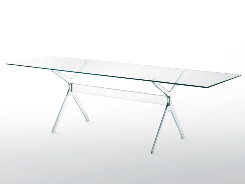 Rectangular crystal table VITRUVIAN by Glas Italia