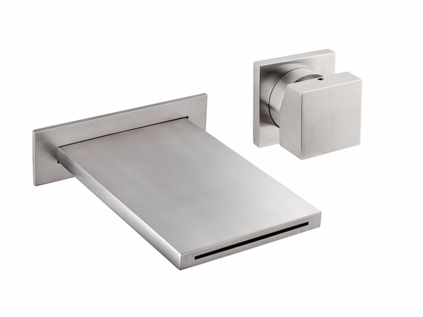 2 hole wall-mounted stainless steel waterfall bathroom tap VITRUVIO B100+3500 by MINA