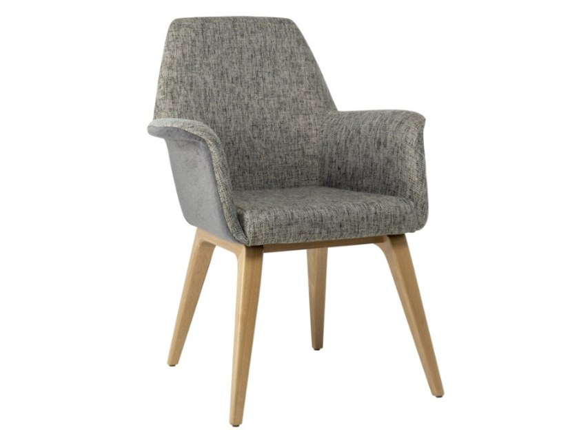 Fabric chair with armrests and beech legs VIVA PO01 BASE 10 by New Life