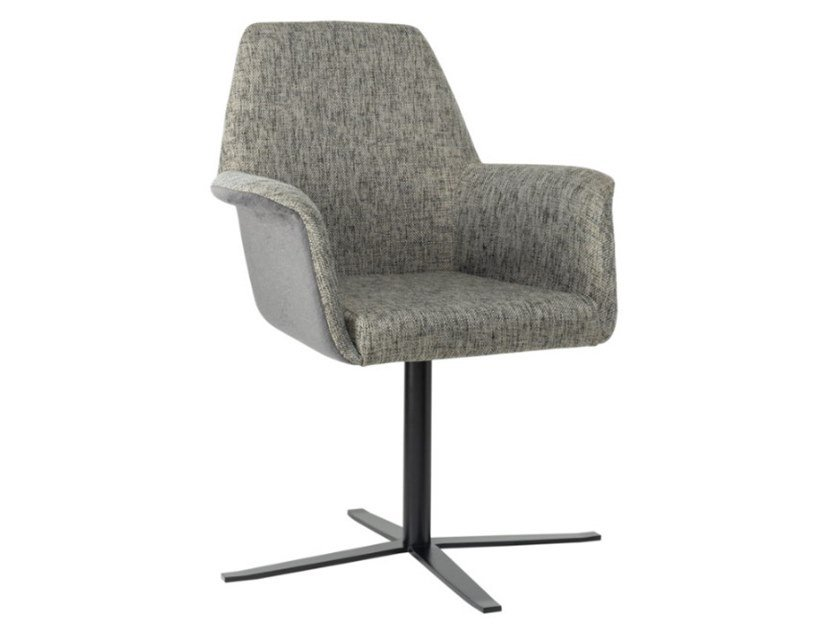 Fabric chair with 4-spoke base with armrests and metal base VIVA PO01 BASE 24 by New Life