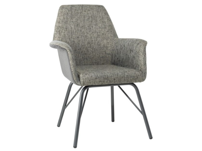 Upholstered fabric chair with armrests and metal base VIVA PO01 BASE 21 by New Life