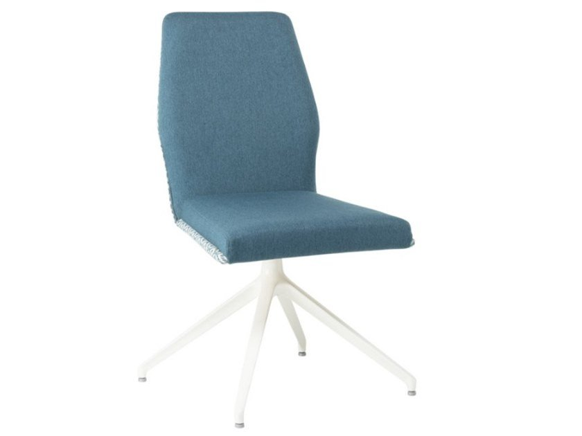 Upholstered trestle-based fabric chair with metal base VIVA SE01 BASE 22 by New Life