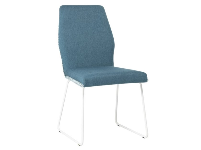 Sled base upholstered fabric chair with metal base VIVA SE01 BASE 20 by New Life