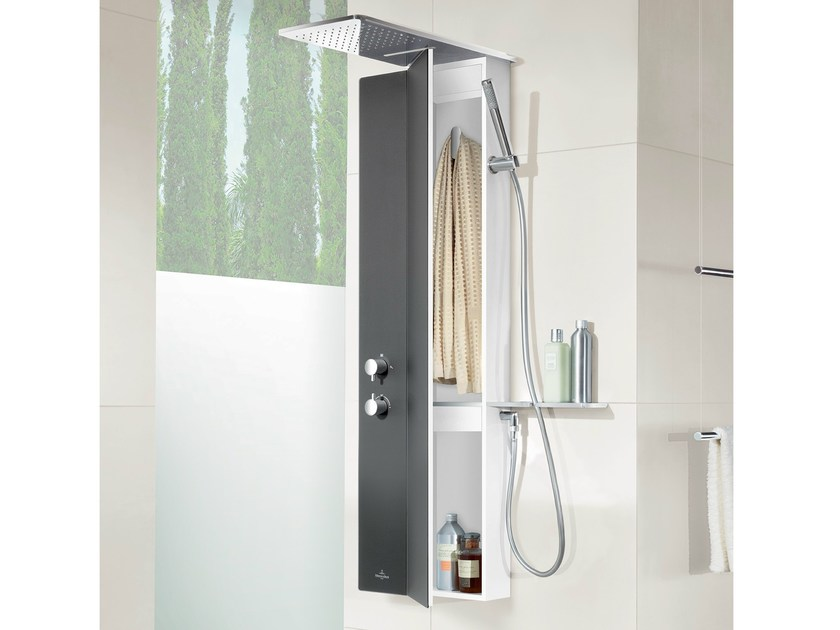 Wall-mounted shower panel with hand shower VIVIA by Villeroy & Boch