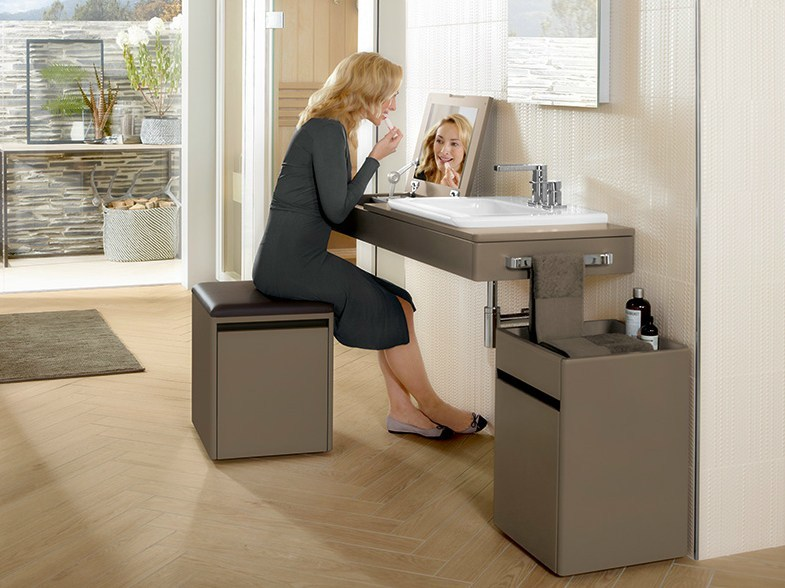 Contemporary style wooden vanity unit with drawers VIVIA by Villeroy & Boch
