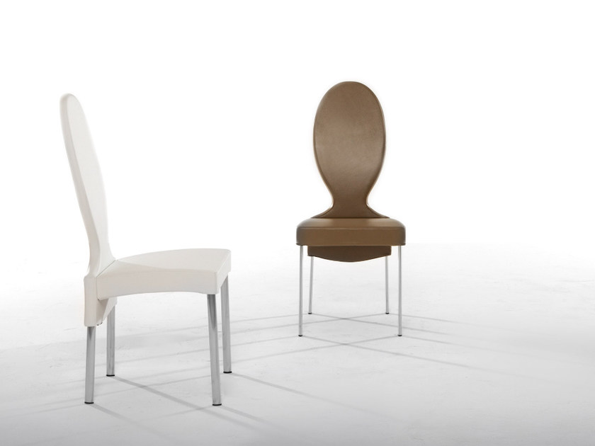 Medallion upholstered leather chair VIVIENNE by Tonin Casa