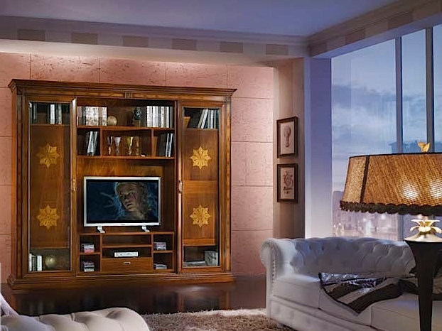 Solid wood TV wall system VIVRE LUX | TV wall system by Arvestyle