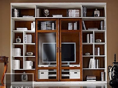 Solid wood TV wall system VIVRE LUX | Lacquered bookcase by Arvestyle