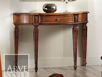 Solid wood console table with drawers VIVRE LUX | Demilune console table by Arvestyle