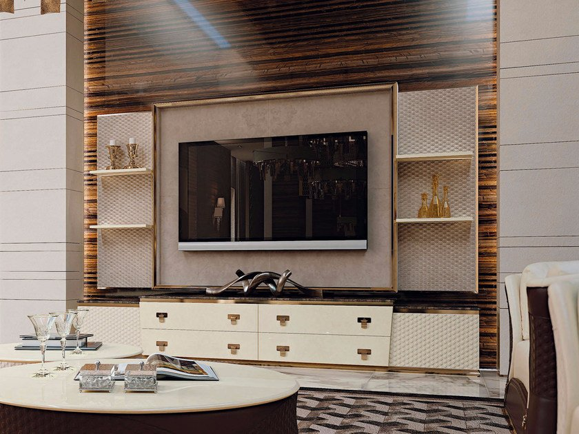 Leather TV cabinet with drawers VOGUE | TV cabinet by Turri