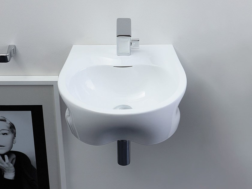 Wall-mounted ceramic washbasin VOID 44 by CERAMICA FLAMINIA
