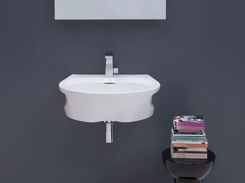 Wall-mounted ceramic washbasin VOID 60 by CERAMICA FLAMINIA