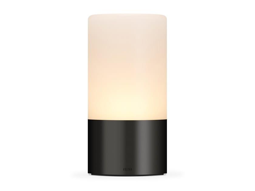 Lampada da tavolo in vetro satinato senza fili VOLTRA FROSTED ANTIQUE BRONZE by Voltra Lighting