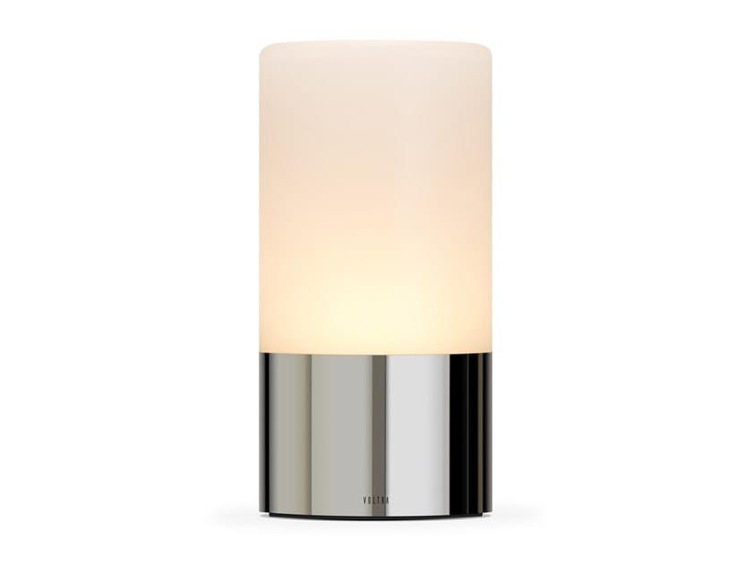 Lampada da tavolo in vetro satinato senza fili VOLTRA FROSTED POLISHED CHROME by Voltra Lighting
