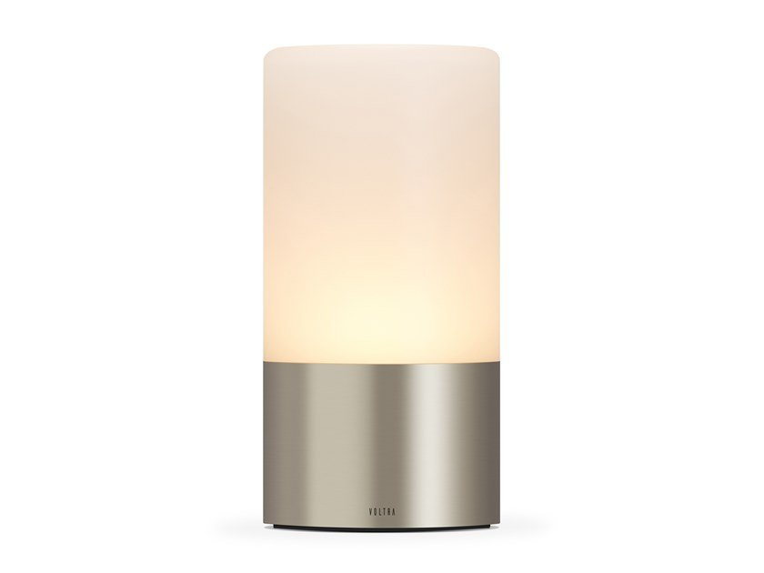 Lampada da tavolo in vetro satinato senza fili VOLTRA FROSTED SATIN NICKEL by Voltra Lighting