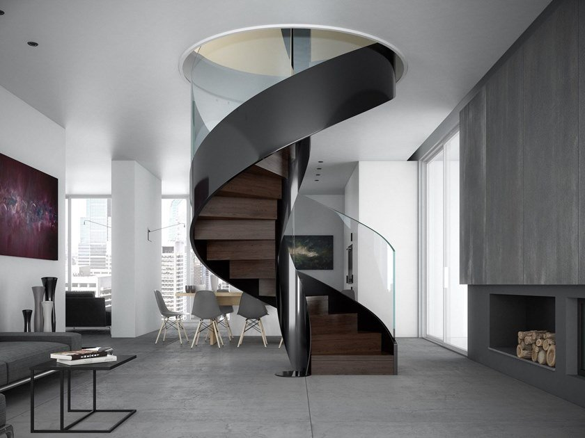 Helical painted metal Spiral staircase VORTIKA by Officine Sandrini