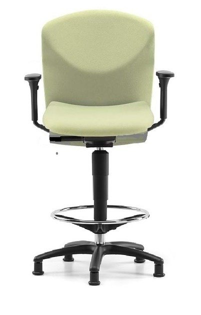 Fabric drafting stool with 5-Spoke base with armrests VULCAN 1471 Z by TALIN