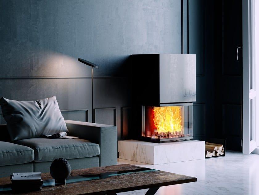 Inserto per camini a legna con vetro panoramico VUUR DRIE 80 by Austroflamm