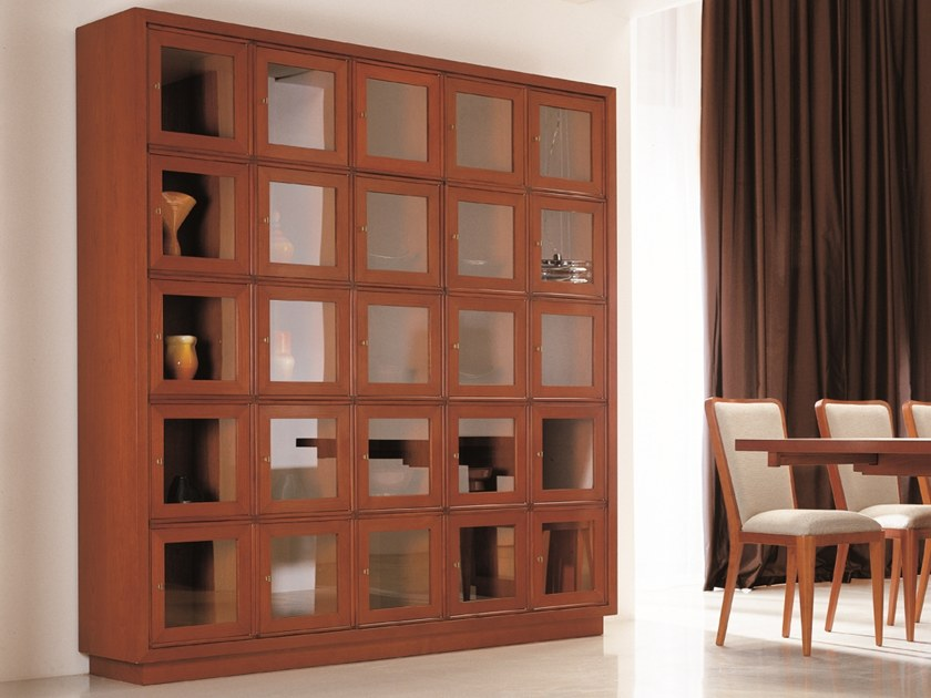 Sectional wood and glass display cabinet W 1240 | Display cabinet by Annibale Colombo
