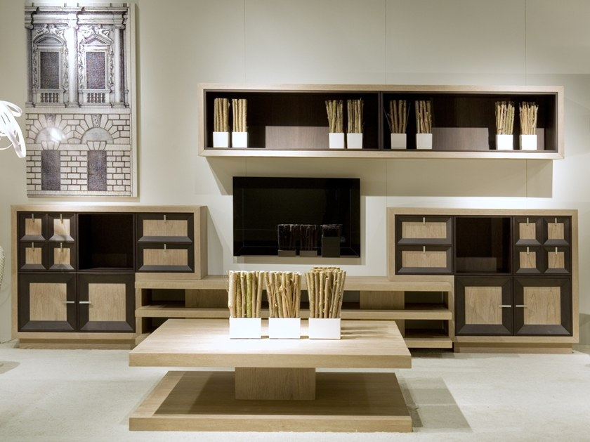 Modular wooden TV wall system W 1393 | Storage wall by Annibale Colombo