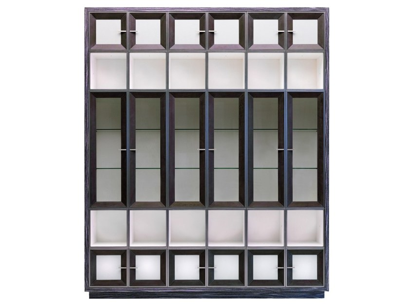 Open freestanding sectional wood and glass bookcase W 1393 | Bookcase by Annibale Colombo