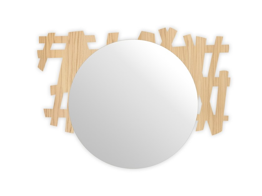 Round wall-mounted framed mirror W-386 | Mirror by LAS