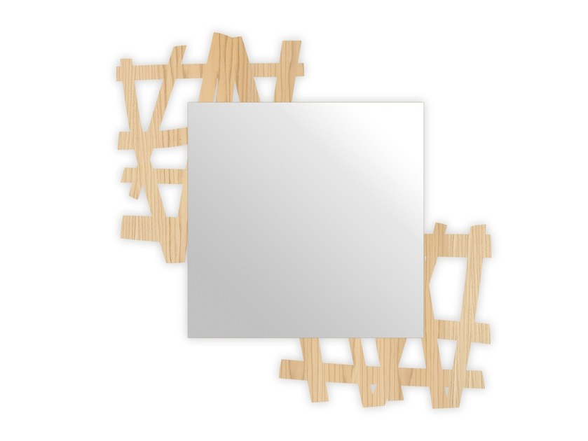 Square wall-mounted framed mirror W-387 | Mirror by LAS