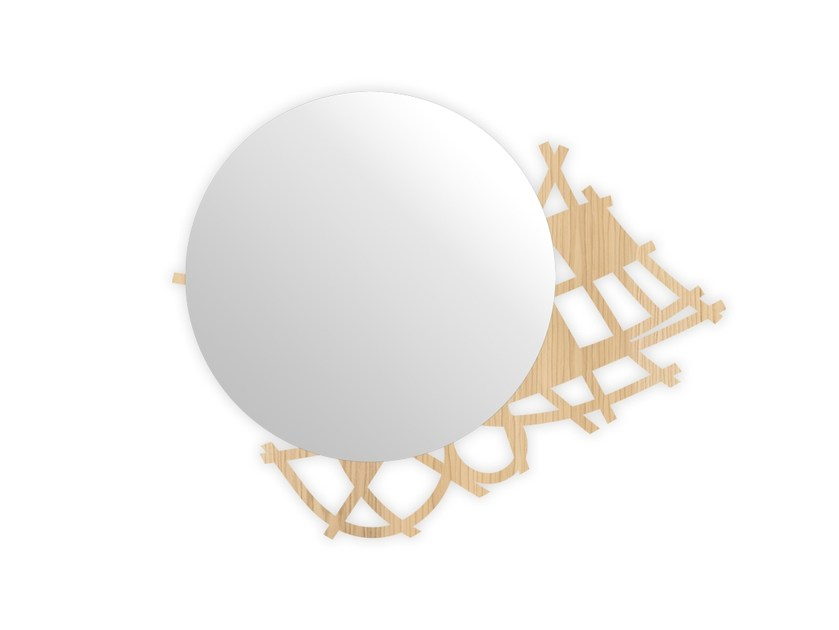 Round wall-mounted framed mirror W-397 | Mirror by LAS
