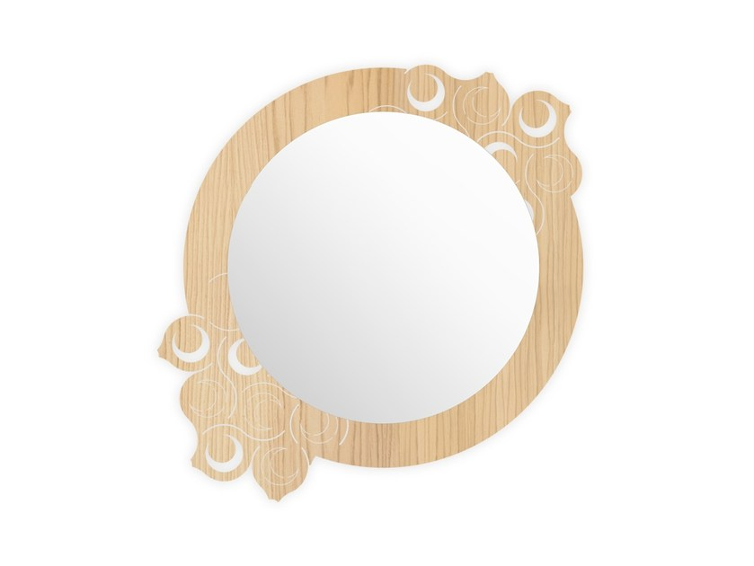 Round wall-mounted framed mirror W-419 | Mirror by LAS