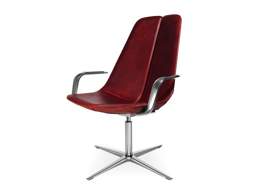 Swivel easy chair with 4-spoke base with armrests W-LOUNGE CHAIR 2 | Easy chair with armrests by WAGNER