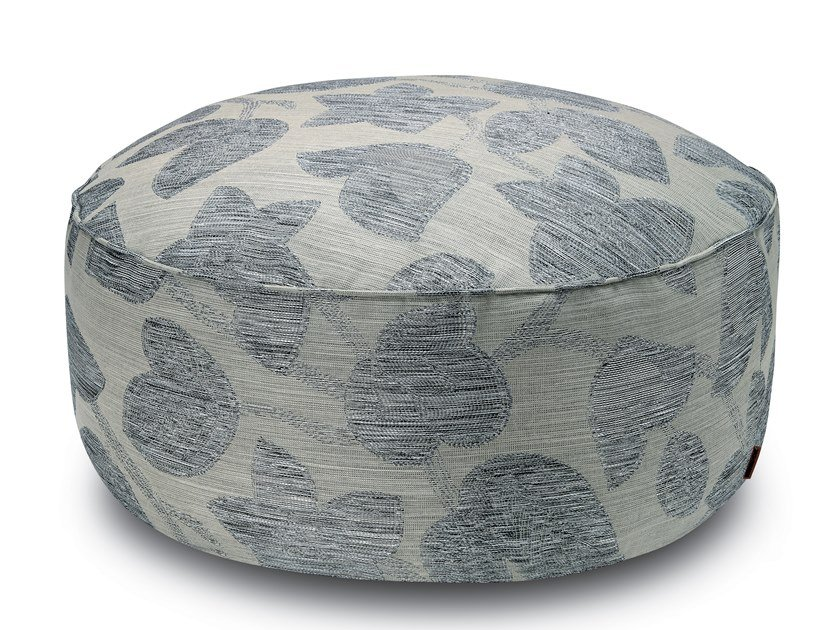 Pallina pouf in jacquard fabric with floral motif in relief WACHAU | Pouf by MissoniHome