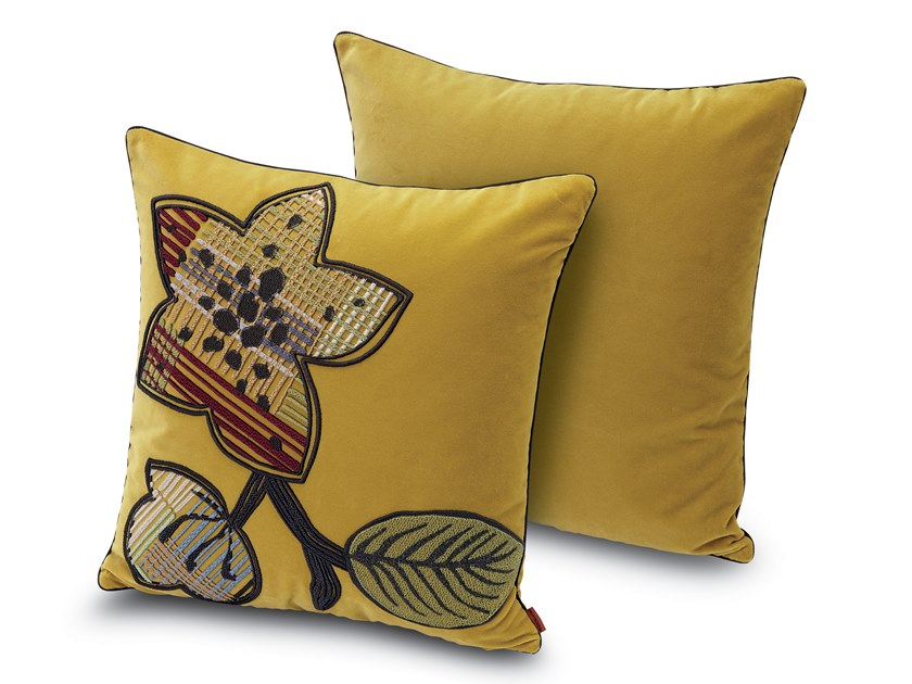 Cushion in cotton velvet, with embroidered giant flowers WAILUA   Cushion with floral pattern by MissoniHome