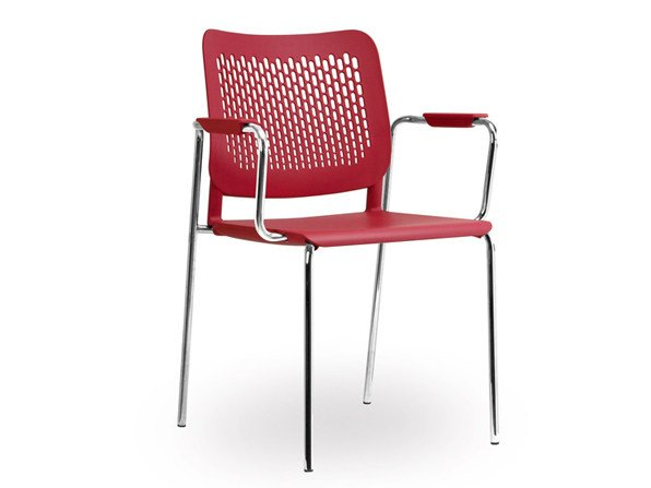 Plastic training chair with armrests WAIT | Reception chair by NARBUTAS