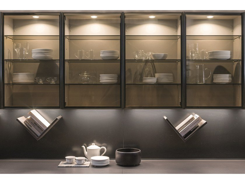 Open wall cabinet with glass door TECA | Wall cabinet by Euromobil