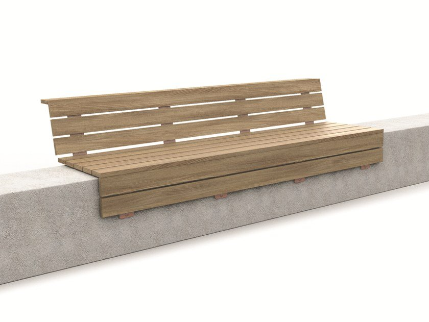 Wooden Bench with back WALL by LAB23