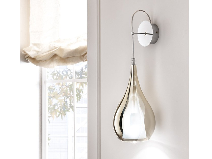 Direct light blown glass wall lamp with fixed arm ZOE | Wall lamp by Cangini & Tucci