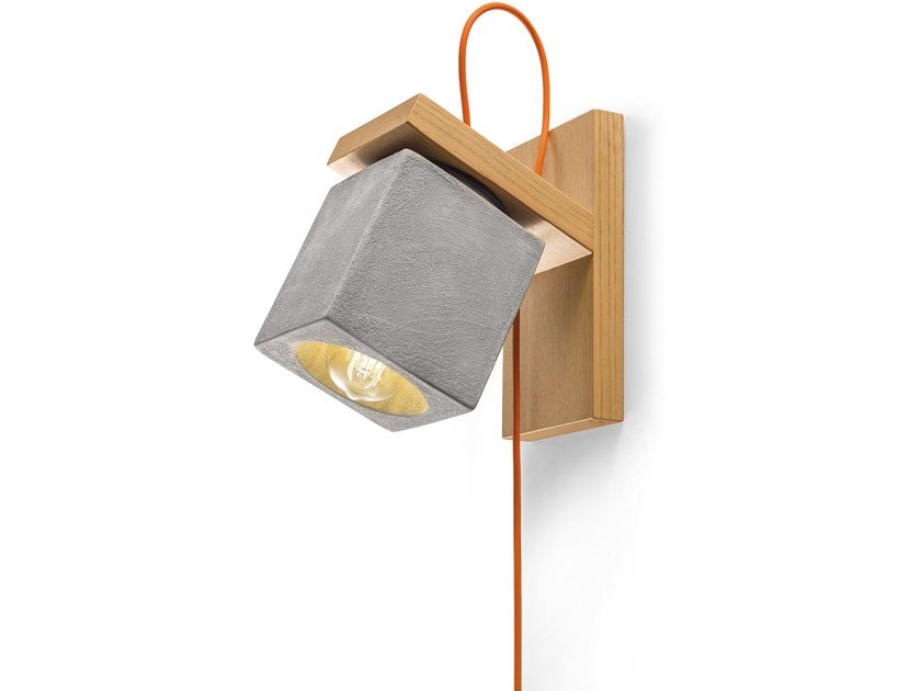 Wooden and ceramic wall light with fixed arm MATECA | Wall light by FERROLUCE