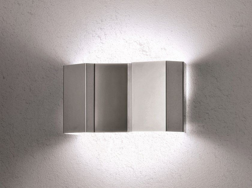 Direct-indirect light stainless steel wall light FOLD | Wall light by Pallucco